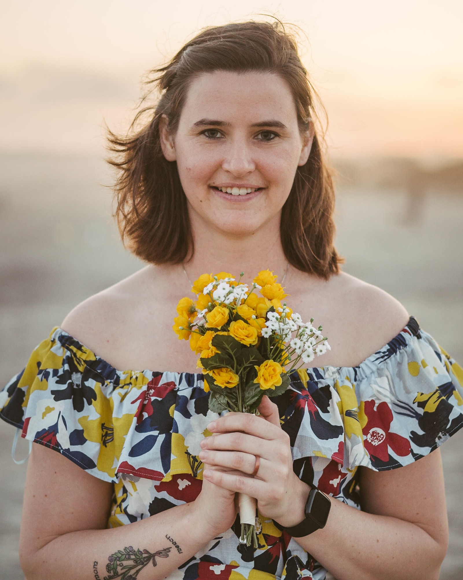 engagement session coronado island sunset san diego california white girl yellow flowers blue red dress
