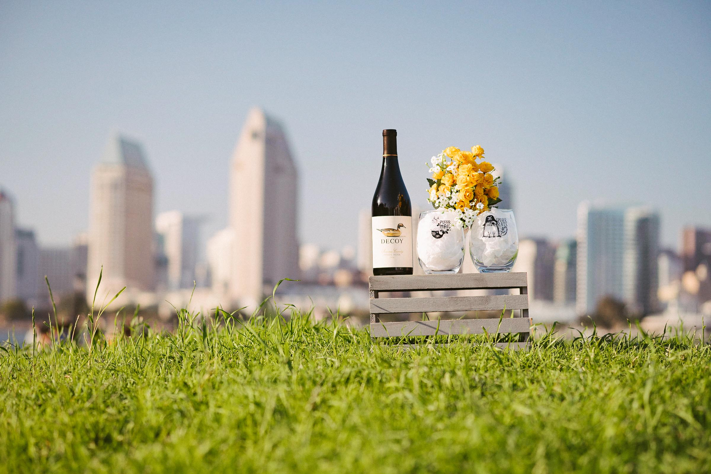 engagement session coronado island sunset san diego skyline california props yellow flowers grass wine glasses