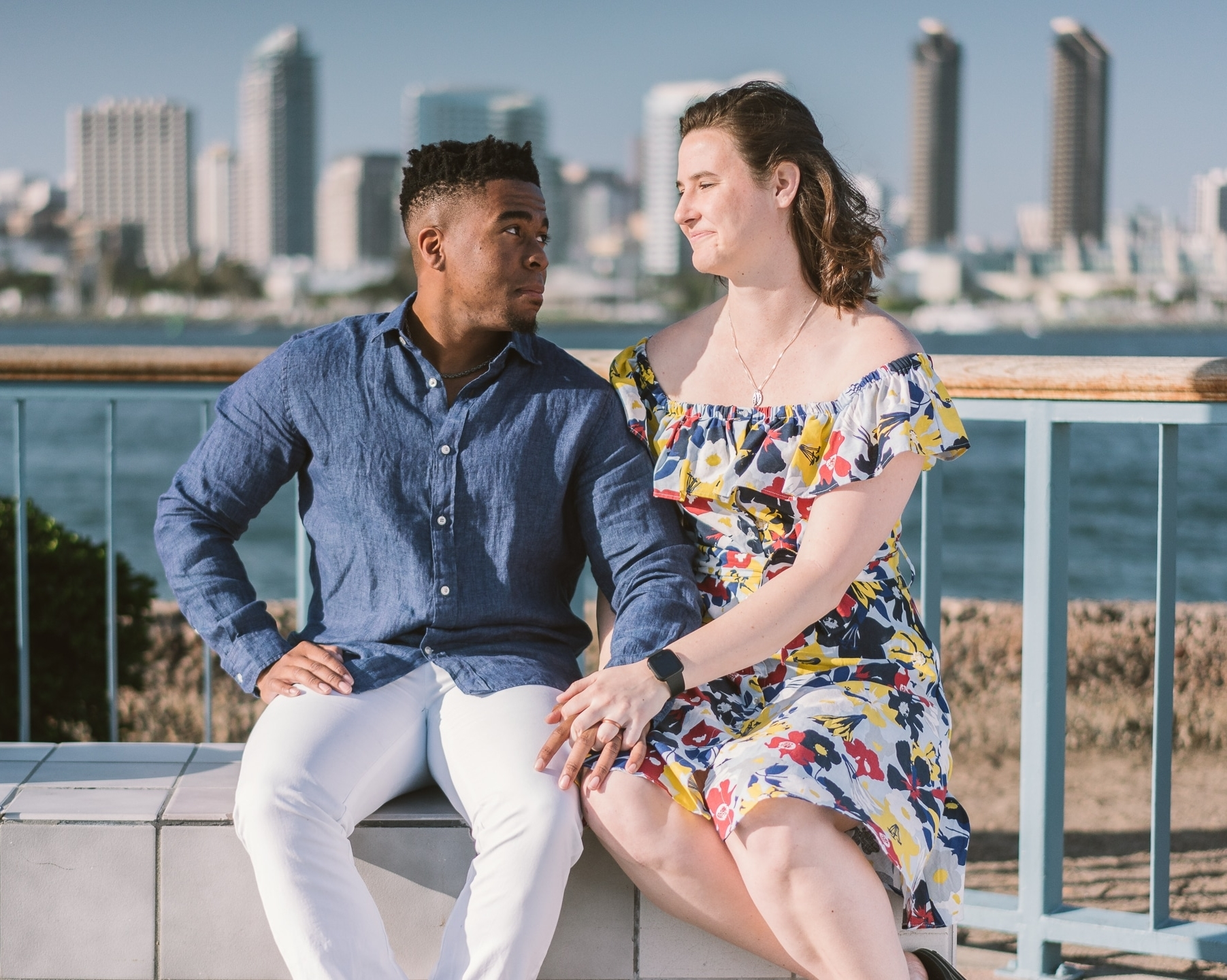 Engagement Session San Diego Skyline Coronado Island Interracial black white couple by the water