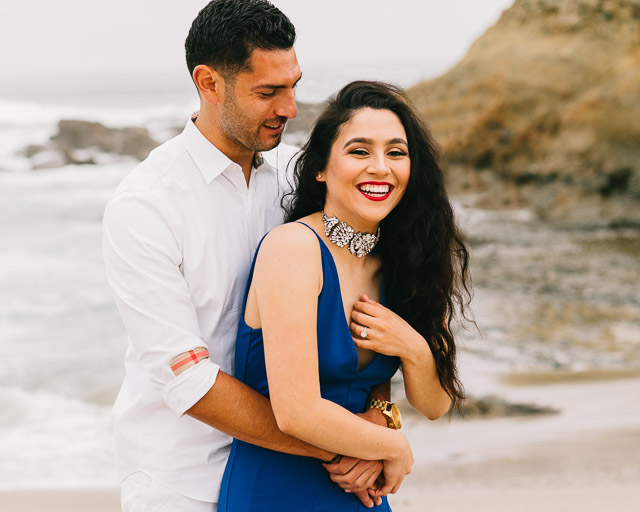 engagements portfolio orange county laguna beach victoria beach latina red lipstick blue dress choker laughing