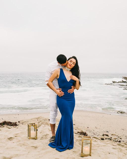 engagements portfolio orange county laguna beach victoria beach latina red lipstick blue neck kiss choker