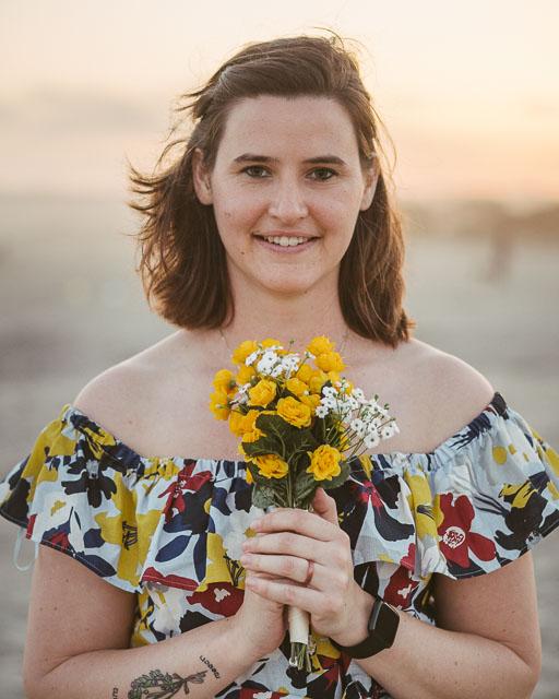engagements portfolio san diego coronado island sunset white girl yellow flowers dress pale snow white